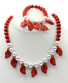 Magic Needles Necklace & Bracelet Set Leaves Design - Red