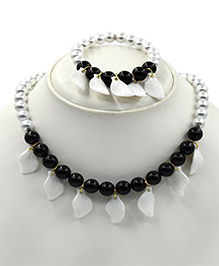 Magic Needles Necklace & Bracelet Set Leaves Design - Black