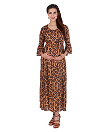 MomToBe Three Fourth Sleeves Leaves Printed Maternity Dress - Brown