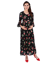 MomToBe Three Fourth Bell Sleeves Maternity Dress Floral Print - Black