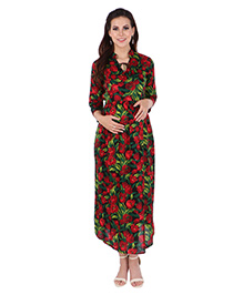 MomToBe Three Fourth Sleeves Cotton Maternity Dress Floral Print - Multicolour