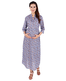 MomToBe Three Fourth Sleeves Cotton Maternity Dress - Blue