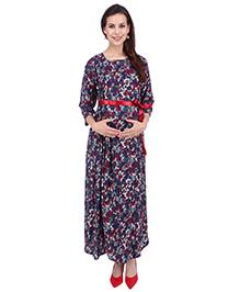 MomToBe Maternity Three Fourth Sleeves Floral Print Dress - Blue