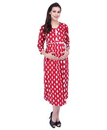 MomToBe Maternity Three Fourth Sleeves Printed Dress - Red