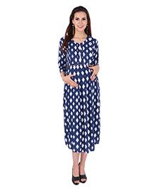 MomToBe Maternity Three Fourth Sleeves Printed Dress - Blue