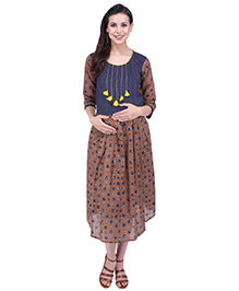 MomToBe Three Fourth Sleeves Maternity Dress - Blue Brown