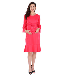 MomToBe Full Sleeves Maternity Dress With Bow Applique - Pink