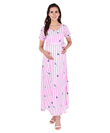 MomToBe Half Sleeves Striped & Doggy Print Maternity Dress - Pink White