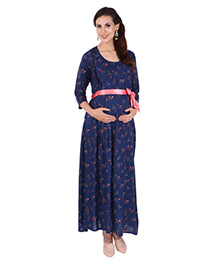 MomToBe Three Fourth Sleeves Maternity Dress - Blue - 2358919