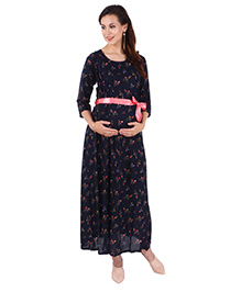 MomToBe Three Fourth Sleeves Maternity Dress - Dark Blue