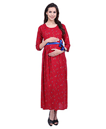 MomToBe Three Fourth Sleeves Maternity Dress - Red