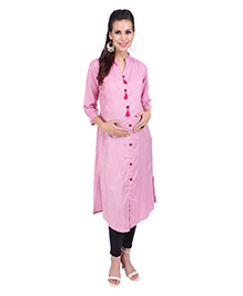 MomToBe Three Fourth Sleeves Maternity Kurti With Tassels - Pink