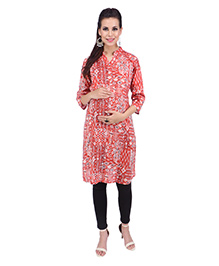 MomToBe Three Fourth Sleeves Maternity Kurti Ikat Print - Orange