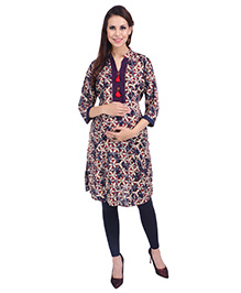 MomToBe Three Fourth Sleeves Maternity Kurti Abstract Print - Beige