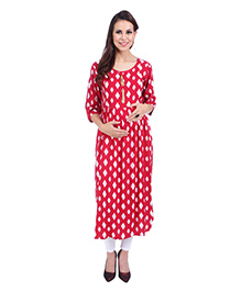 MomToBe Three Fourth Sleeves Maternity Kurti Diamond Print - Red