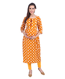 MomToBe Three Fourth Sleeves Maternity Kurti Diamond Print - Yellow