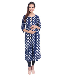 MomToBe Three Fourth Sleeves Maternity Kurti Diamond Print - Blue