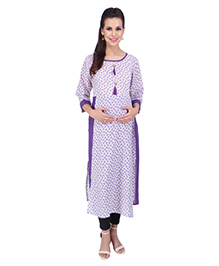 MomToBe Three Fourth Sleeves Maternity Kurti Floral Print - Purple