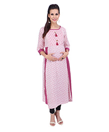 MomToBe Three Fourth Sleeves Maternity Kurti Floral Print - Pink