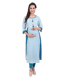 MomToBe Three Fourth Sleeves Maternity Kurti Floral Print - Turquoise Blue