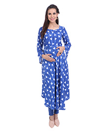 MomToBe Three Fourth Sleeves Maternity Kurti Geometric Print - Azure Blue