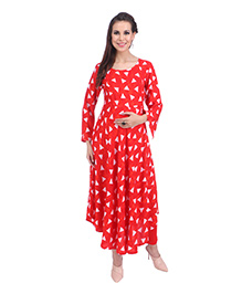 MomToBe Three Fourth Sleeves Maternity Kurti Geometric Print - Orange