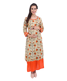 MomToBe Full Sleeves Maternity Kurti Floral Print - Orange Beige