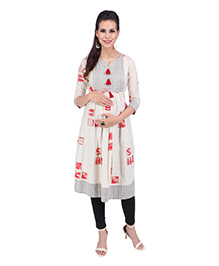 MomToBe Three Fourth Sleeves Maternity Kurti - Beige & Red