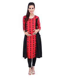 MomToBe Three Fourth Sleeves Maternity Kurti - Black & Red