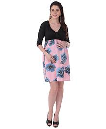 MomToBe Half Sleeves Maternity Dress Floral Print - Black Pink Blue