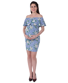 MomToBe Off Shoulder Checked Maternity Dress Floral Print - Blue