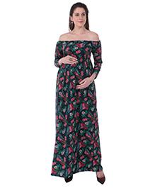 MomToBe Off Shoulder Floral Printed Maternity Dress - Navy Blue