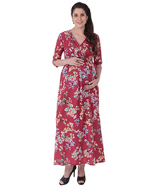 MomToBe Three Fourth Sleeves Maternity Dress Floral Print - Red