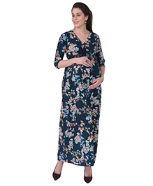 MomToBe Three Fourth Sleeves Maternity Dress Floral Print - Navy Blue