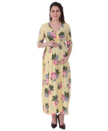MomToBe Half Sleeves Maternity Dress Floral Print - Yellow