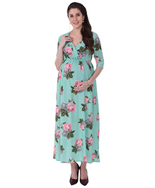MomToBe Half Sleeves Maternity Dress Floral Print - Sea Green