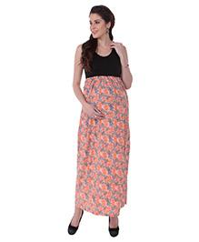 MomToBe Sleeveless Floral Printed Maternity Dress - Black Peach