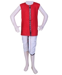 Infancy - Sleeveless Chikan Work Kurta With Dhoti Set