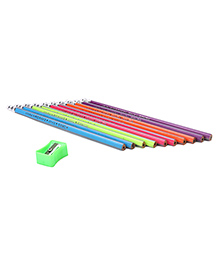 KoresFuncilsTrilo Extra Dark Triangular Pencils & Sharpener Multicolor - Pack Of 10