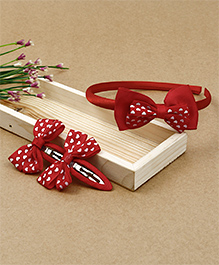 Babyhug Hairband & Hair Clips With Bow Applique - Red