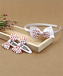 Babyhug Hairband & Hair Clips With Bow Applique - White