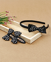 Babyhug Hairband & Hair Clips With Bow Applique - Black