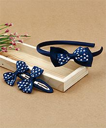 Babyhug Hairband & Hair Clips With Bow Applique - Blue