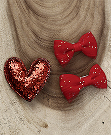 Babyhug Heart & Bow Shape Hair Clips Pack Of 3 - Red