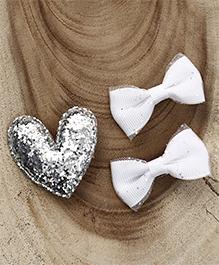 Babyhug Heart & Bow Shape Hair Clips Pack Of 3 - White