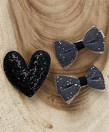 Babyhug Heart & Bow Shape Hair Clips Pack Of 3 - Black