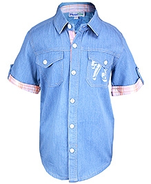 ShopperTree - Short Sleeves Blue Shirt