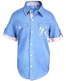 ShopperTree - Short Sleeves Blue Shirt