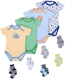Carters - Combo Pack Of Printed 4 Onesies And 6 Socks