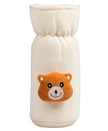 Ole Baby Velvet Bottle Cover Bear Face Motif White - 500 Ml